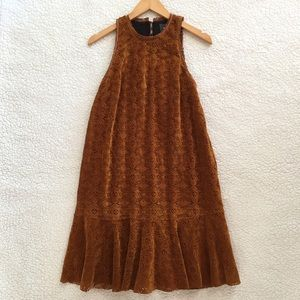 NWT Anthropologie Maeve faux suede Amis lace dress